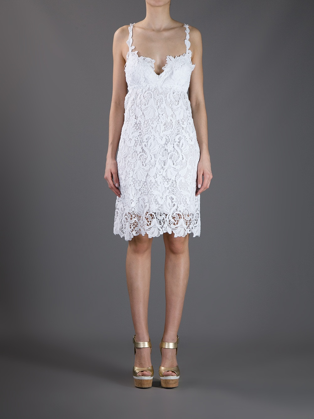 lace overlay dress - White Ermanno Scervino hRgUi