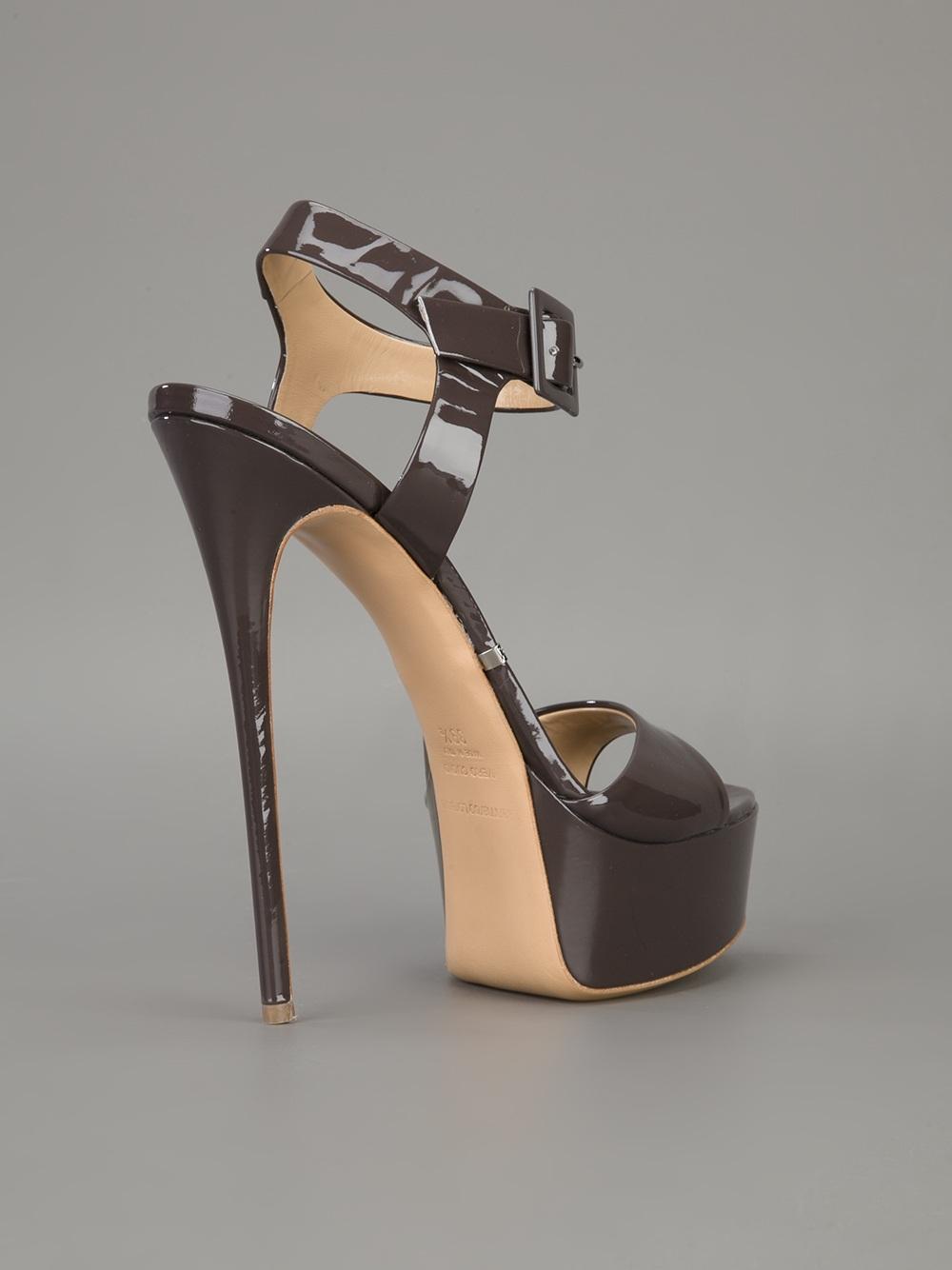 Lyst Gianmarco Lorenzi Platform Stiletto Sandal In Brown