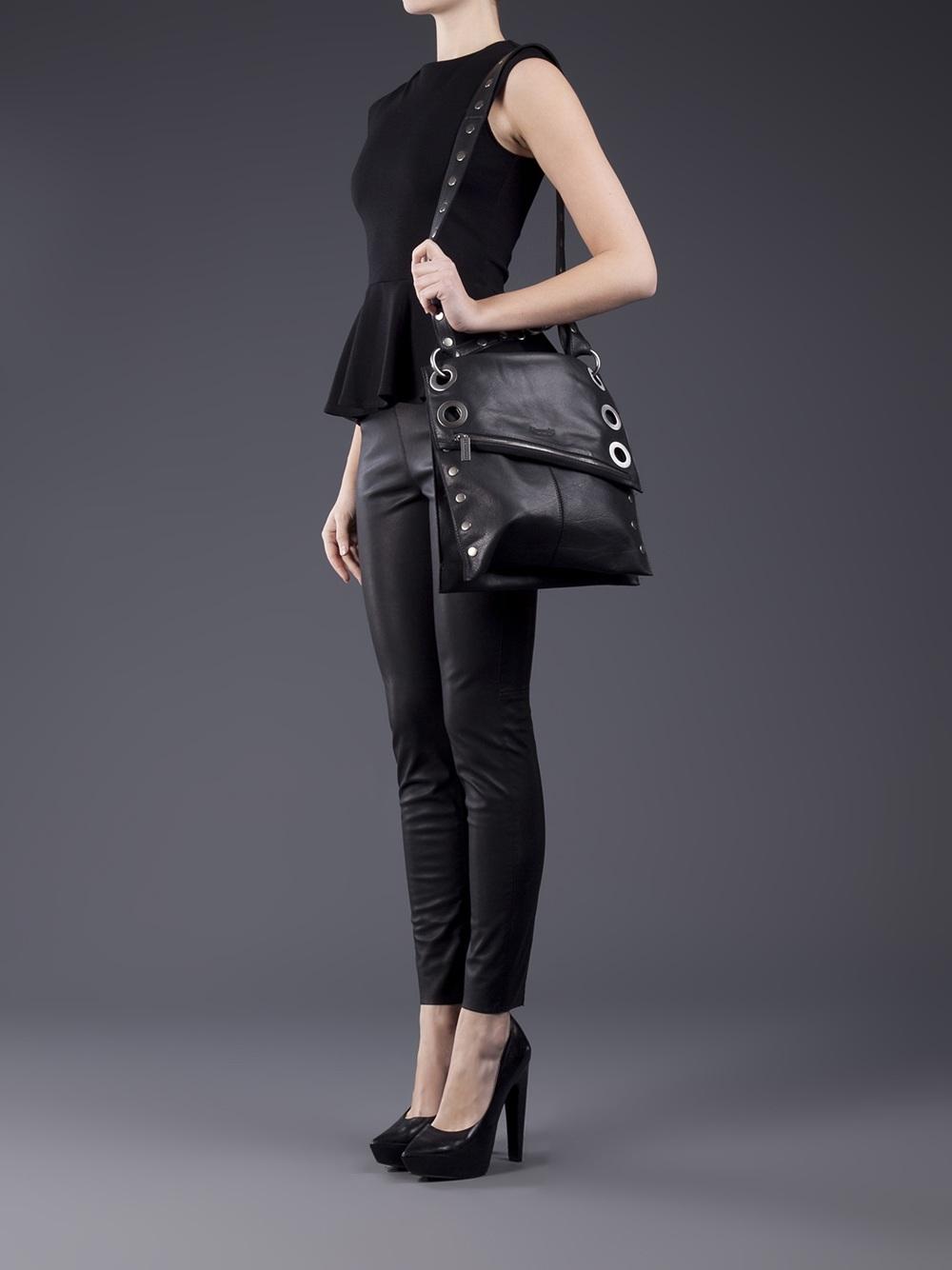 8db14e0d2 Hammitt Fold-Over Leather Cross-Body Bag in Black - Lyst