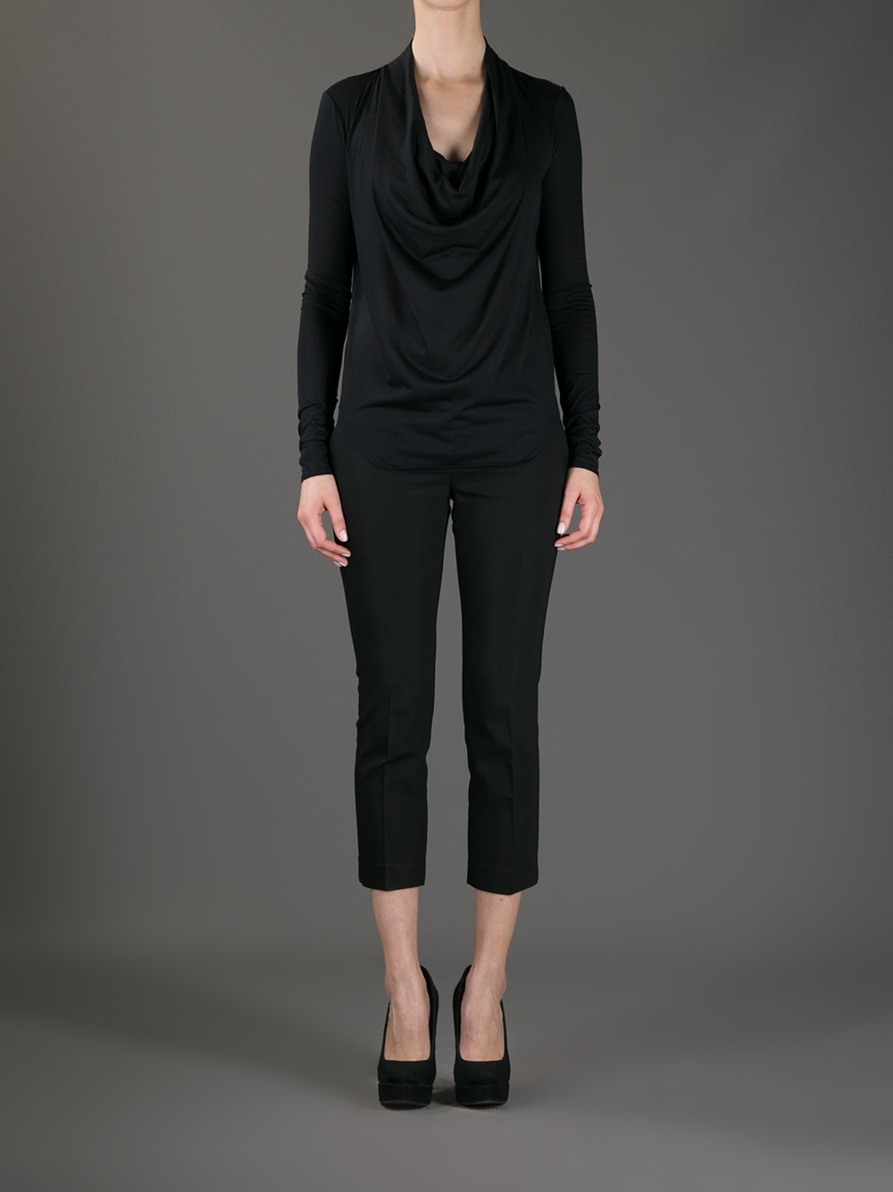 437fbf4772ab9b Lyst - Helmut Lang Draped Cowl Neck Top in Black
