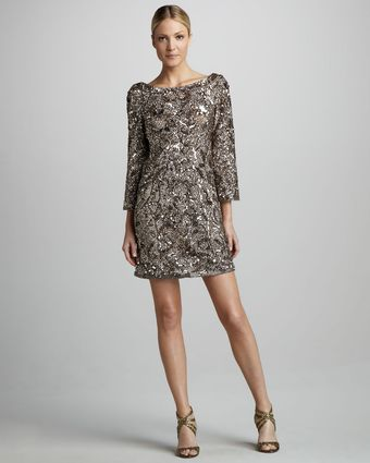 Marchesa Couture Sequined Silk Tunic Dress - Lyst