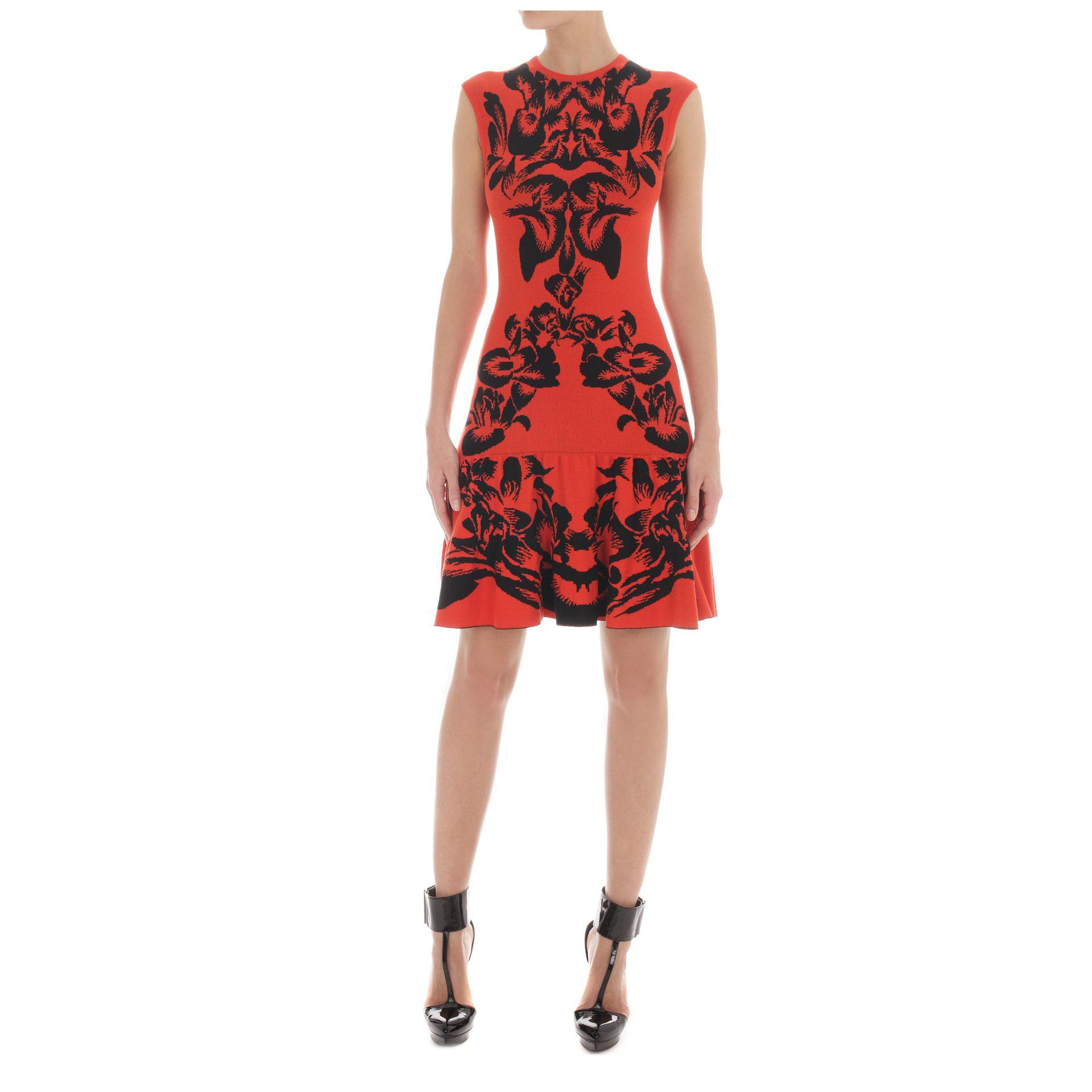 Lyst Mcq Iris Jacquard Dress In Red