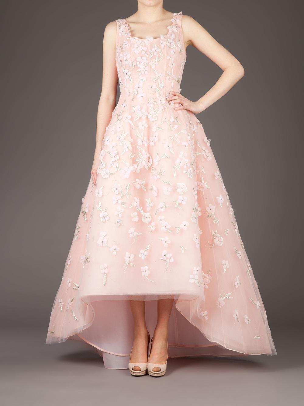 Lyst - Oscar De La Renta Floral Embellished Evening Gown in Pink