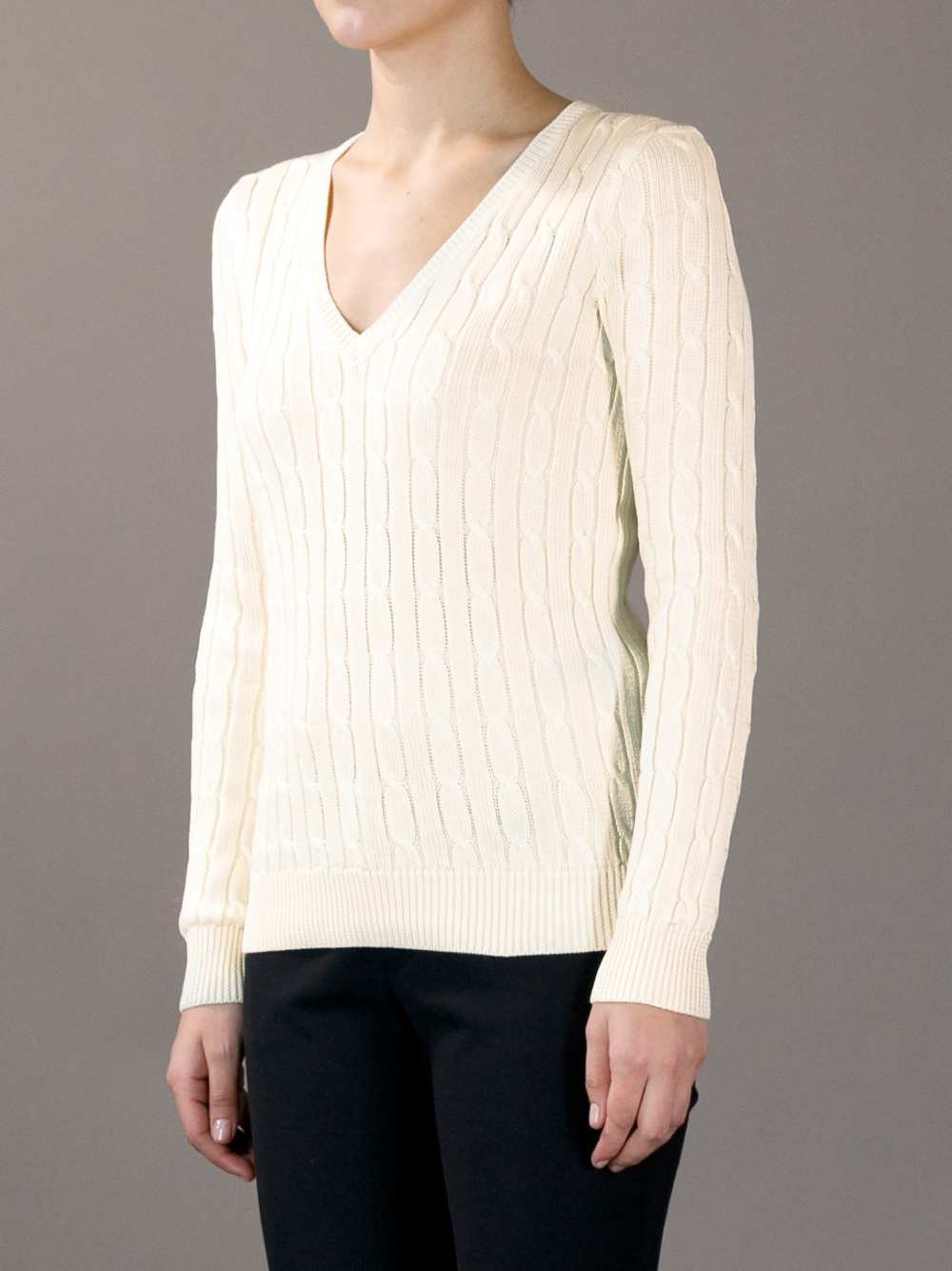 Lyst Ralph Lauren V Neck Cable Knit Sweater In Natural