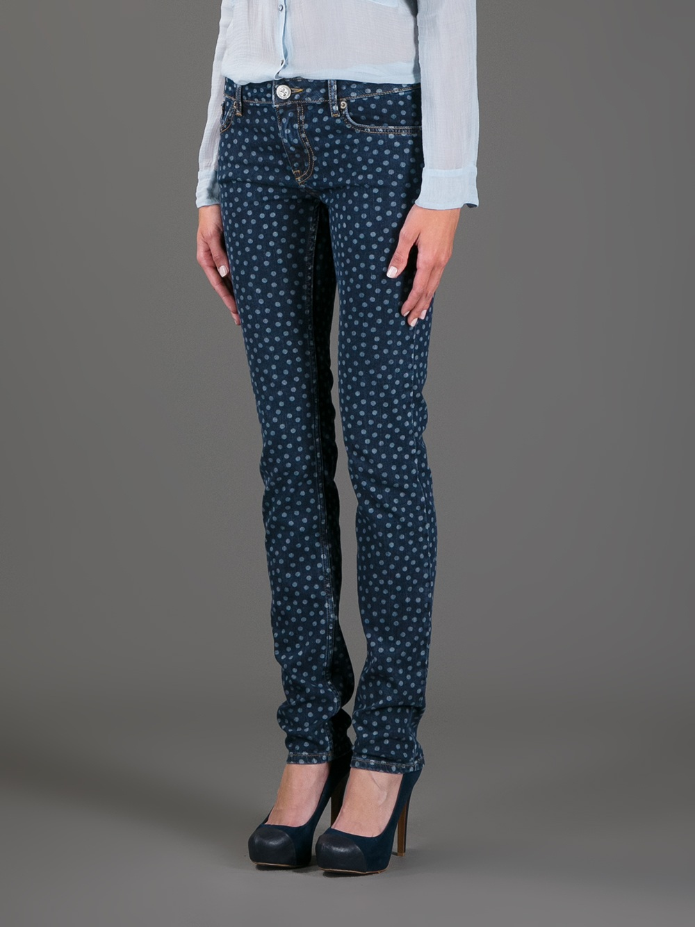 Lyst red valentino polka dot jeans in blue sisterspd