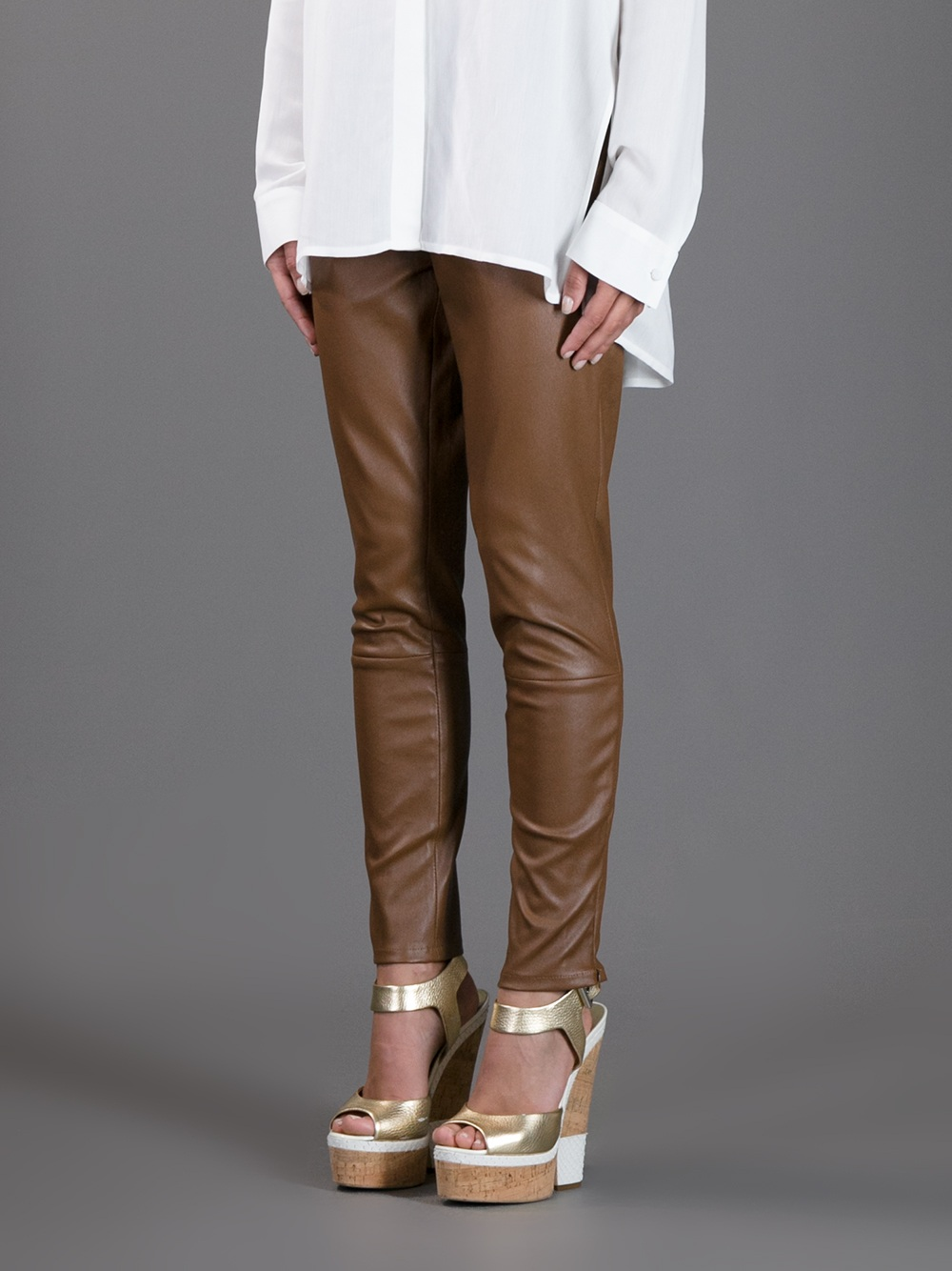 The row Skinny Leather Pants in Brown | Lyst