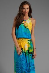 Tracy Reese Silk Prints Halter Maxi in Blue - Lyst