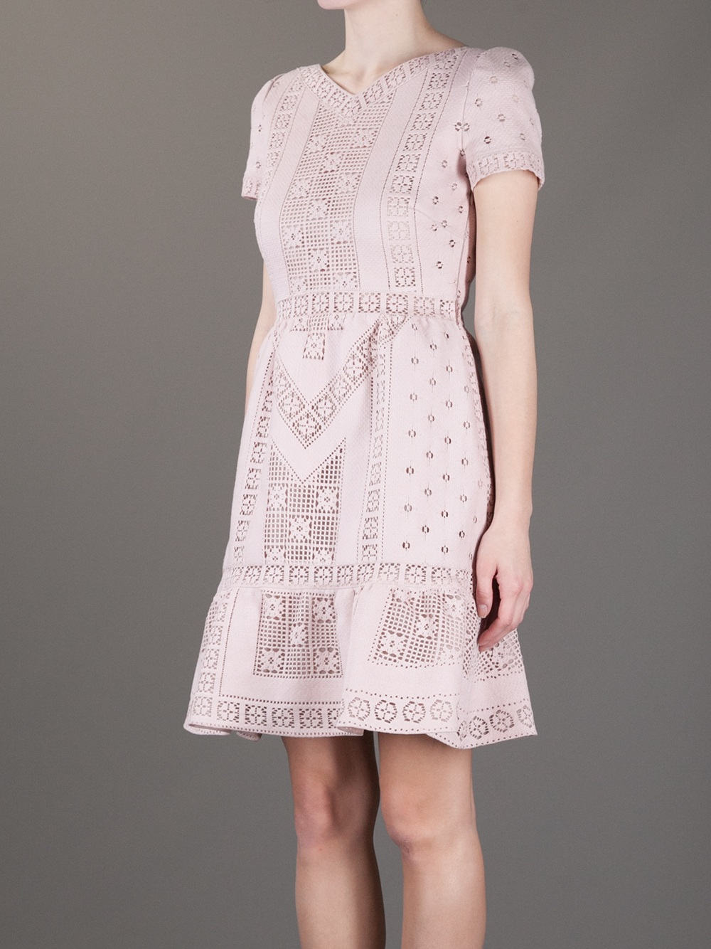 Lyst Valentino Crochet Knit Dress In Pink
