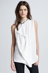 3.1 Phillip Lim Asymmetric Draped Beaded Silk Tank White - Lyst