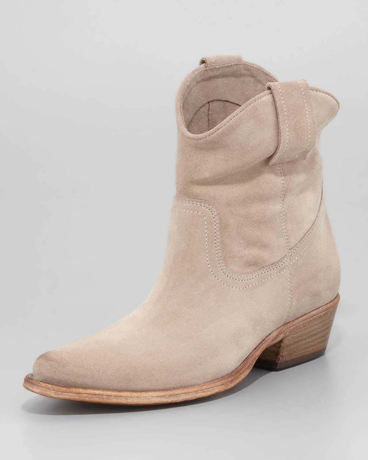 ac1d132e648 Lyst - Alberto Fermani Suede Western Ankle Bootie in Natural
