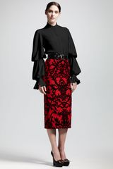 Alexander McQueen Jacquardflocked Pencil Skirt - Lyst
