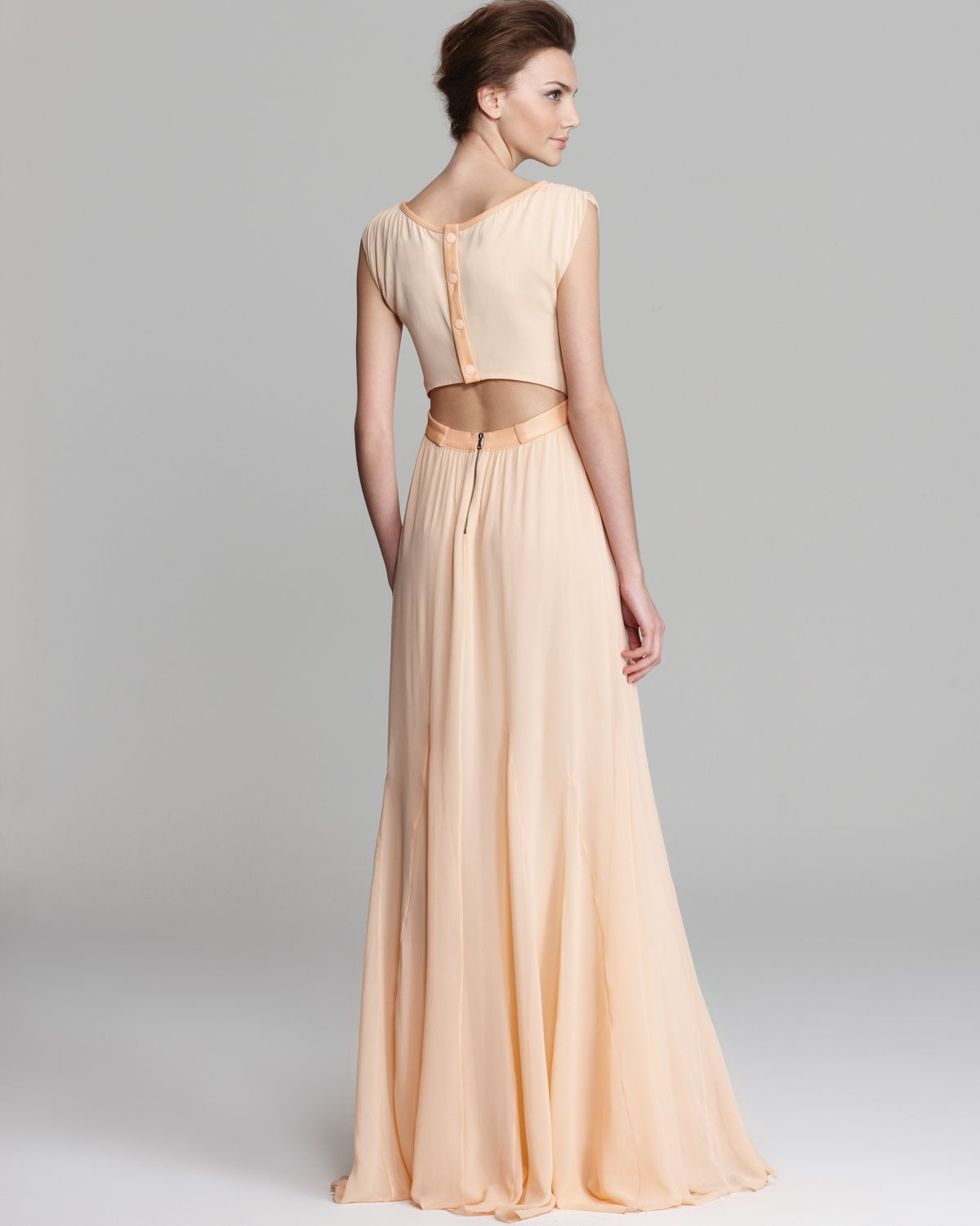 Triss pleated long maxi dress with leather