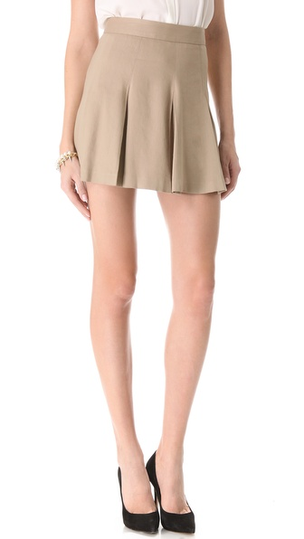 Alice   olivia Box Pleat Khaki Skirt in Natural | Lyst