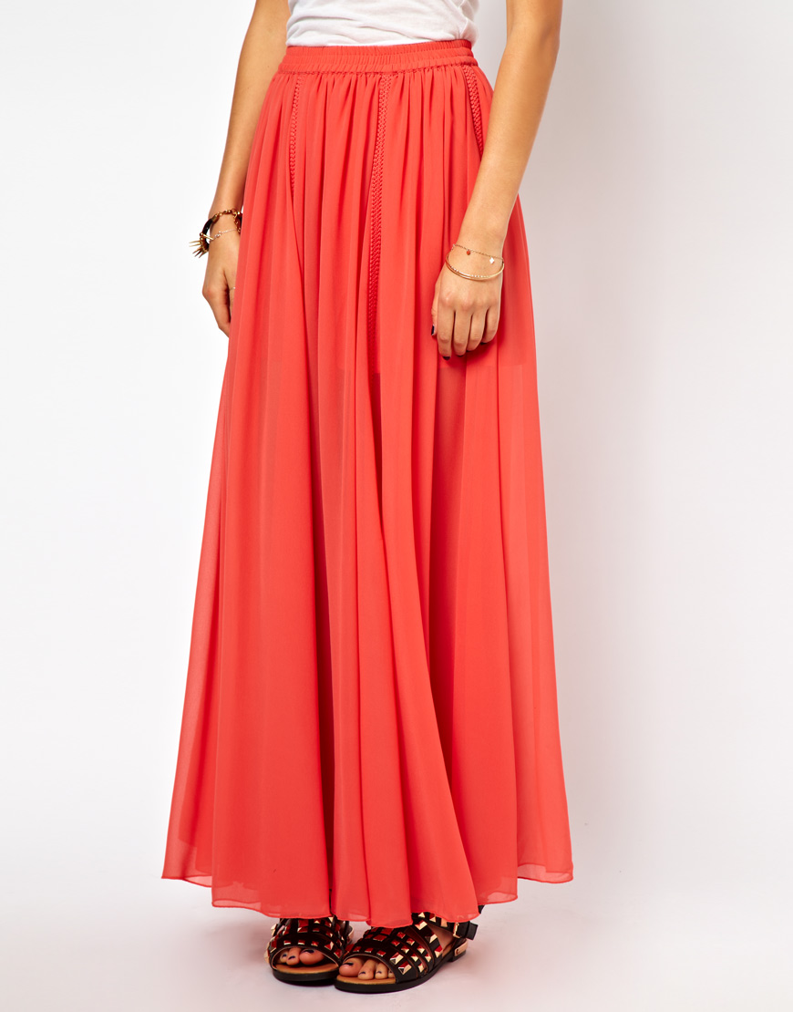 asos maxi skirt with embroidered trim in orange lyst