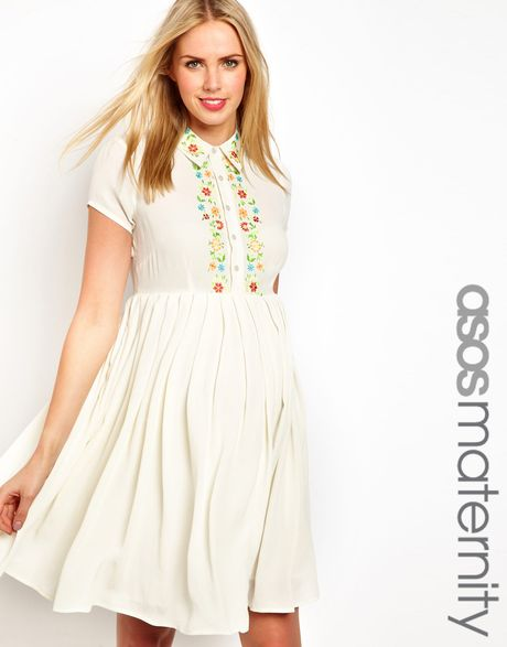 Asos Maternity Shirt Dress with Floral Embroidery in White ...