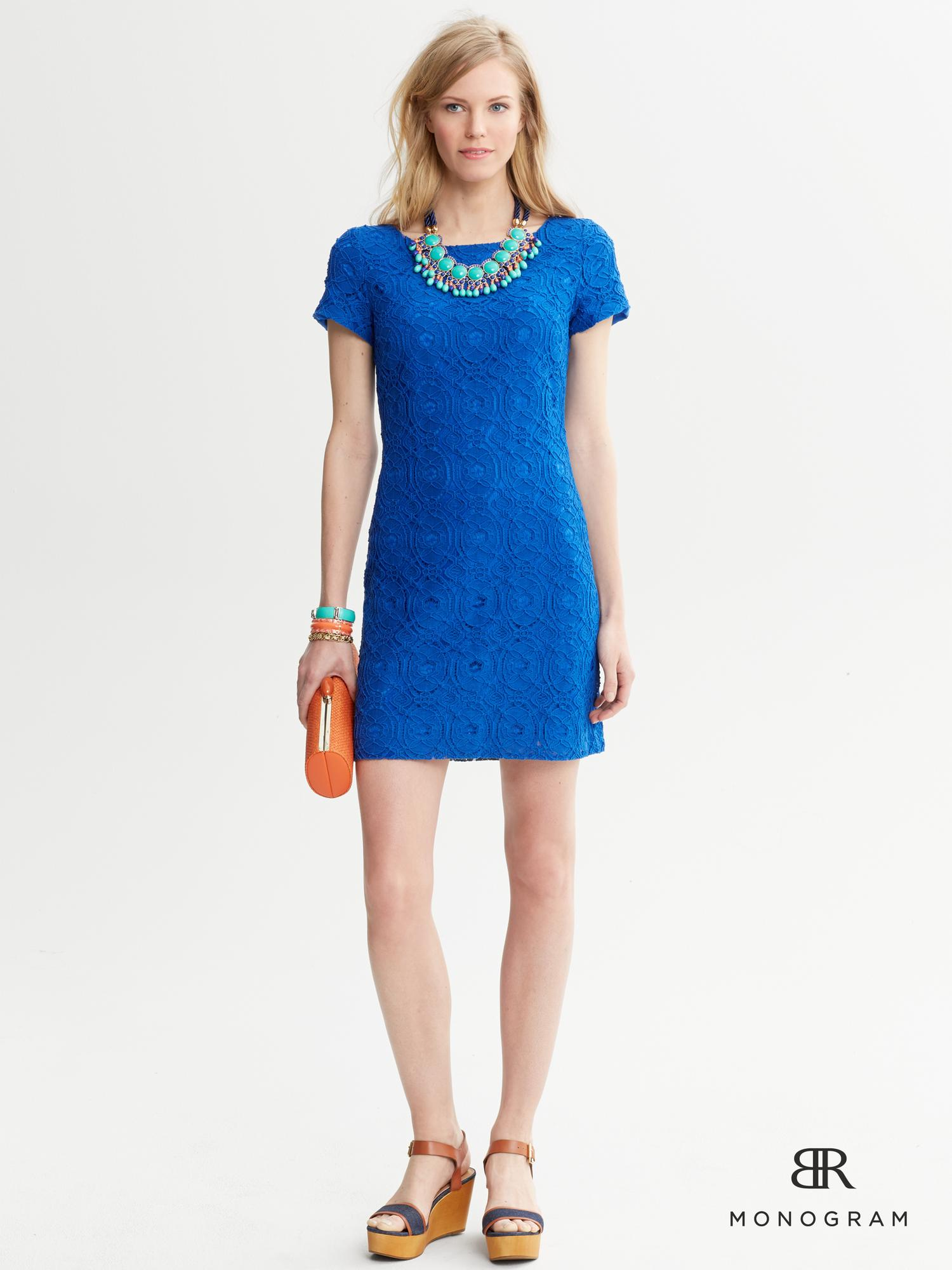 Banana Republic Monogram Lace Short Sleeve Dress In Blue