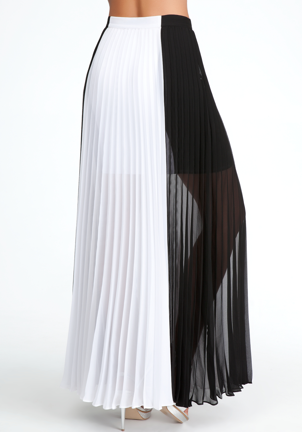 Bebe Pleated Colorblock Maxi Skirt in White | Lyst