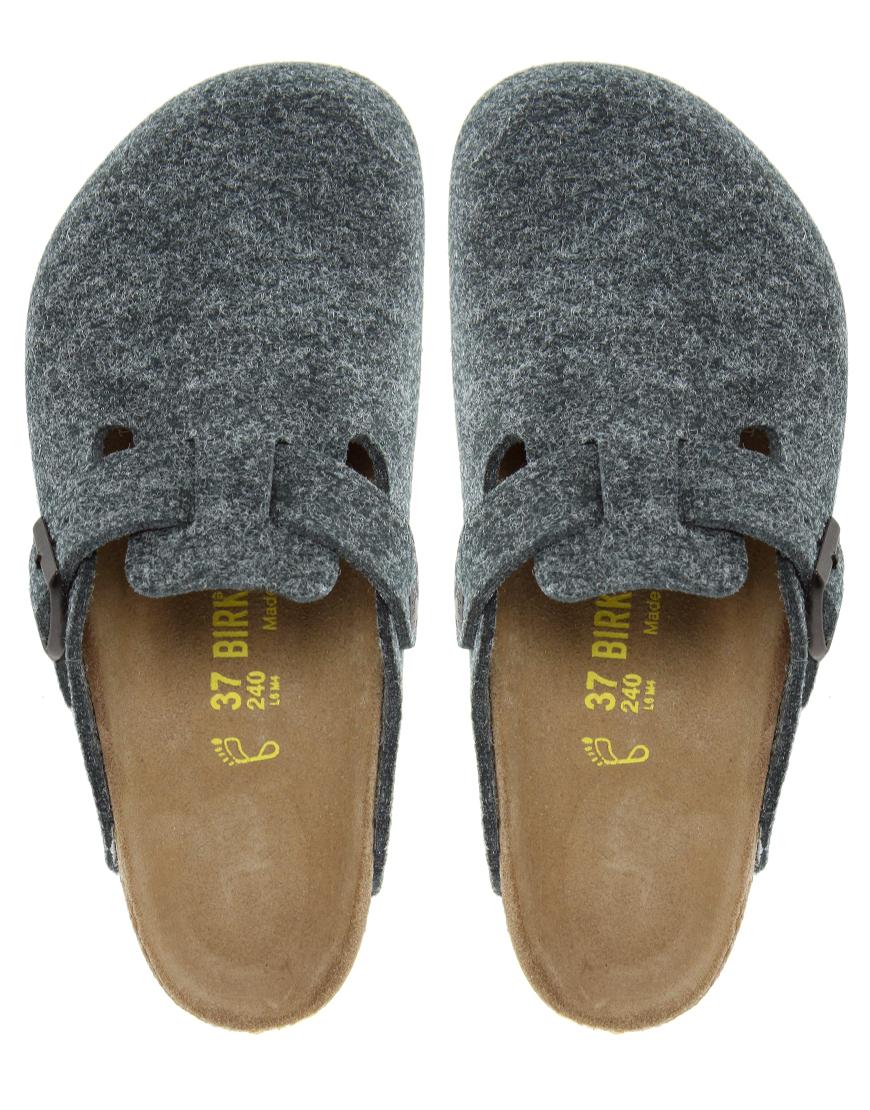 Birkenstock Boston Grey Wool Clogs In Gray Lyst