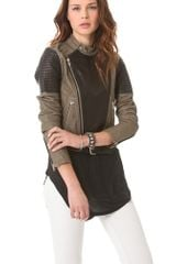 Blk Dnm Two Tone Leather Biker Jacket - Lyst