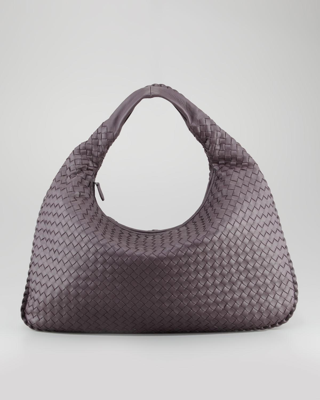 96ad43421e03 Lyst - Bottega Veneta Woven Large Leather Hobo Bag Plum Gray in Purple
