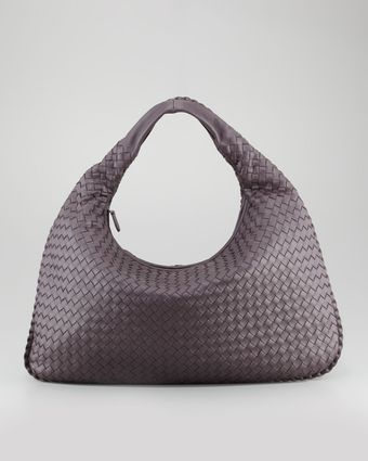 Bottega Veneta Woven Large Leather Hobo Bag Plum Gray - Lyst