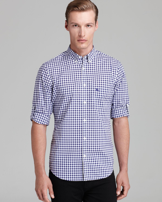 Burberry brit adken gingham check sport shirt classic fit for Royal purple mens dress shirts