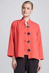 Caroline Rose Buttonfront Shantung Jacket - Lyst