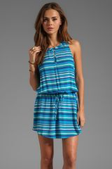 C&c California Playa Stripe Rayon Split Neck Tank Dress in Teal - Lyst