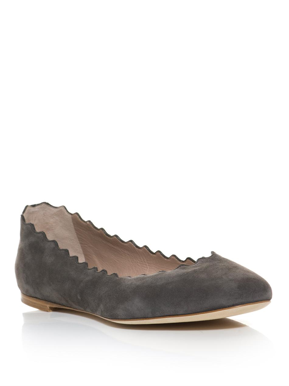 Lyst Chlo 233 Scalloped Edge Flats In Gray
