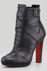 Christian Louboutin Lamu Leather Laceup Platform Red Sole Bootie Black - Lyst