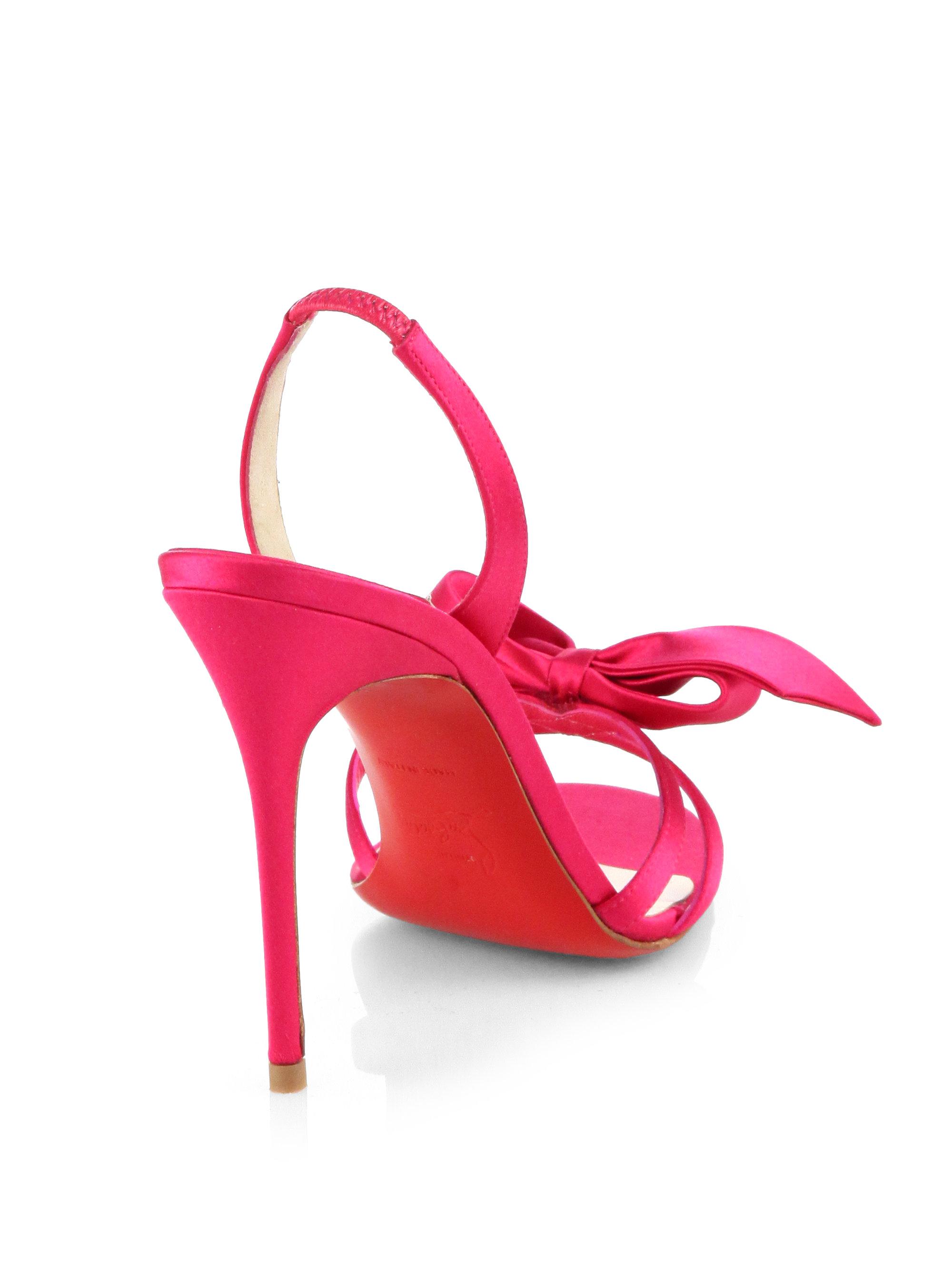 promo code 6992e a82f5 sweden christian louboutin satin bow sandal 6e0a9 cdf03