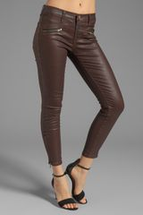 Current/Elliott The Soho Zip Stiletto in Brown Coated - Lyst