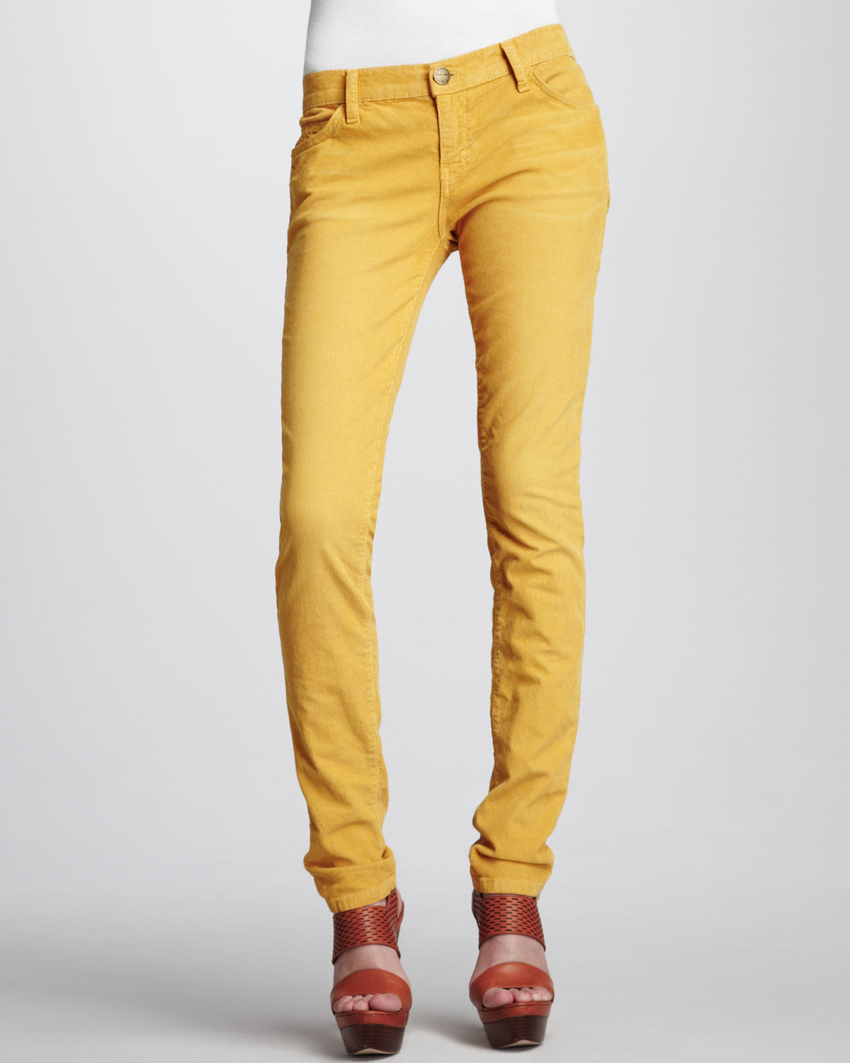 Current/elliott The Skinny Vintage Mustard Jeans in Yellow | Lyst
