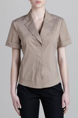 Donna Karan New York Notch collar Seamed Shirt Khaki - Lyst