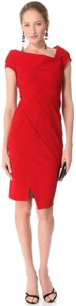 Donna Karan New York Sculpted Cap Sleeve Dress in Red