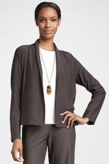 Eileen Fisher Womens Long Crepe Jacket - Lyst