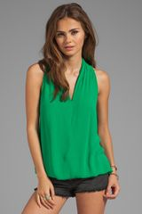Ella Moss Stella V Neck Tank in Green - Lyst