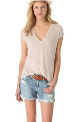 Enza Costa Short Sleeve V Neck Tee - Lyst