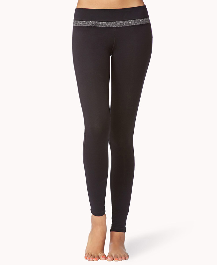 Forever 21 Metallic Skinny Yoga Leggings In Black (BLACK
