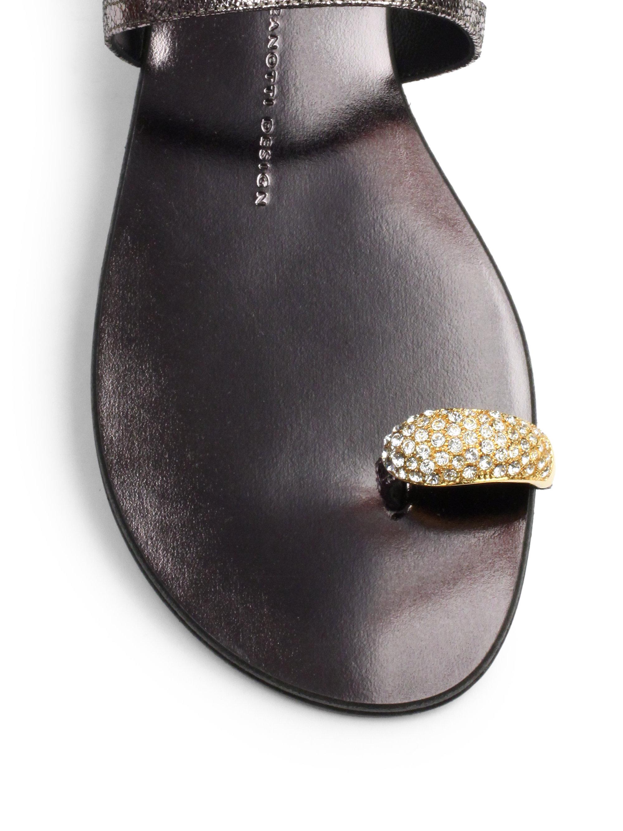 Lyst Giuseppe Zanotti Crystal Toe Ring Metallic Leather
