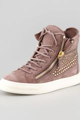 Giuseppe Zanotti High-top Crystal-panel Sneaker Dusty Rose - Lyst