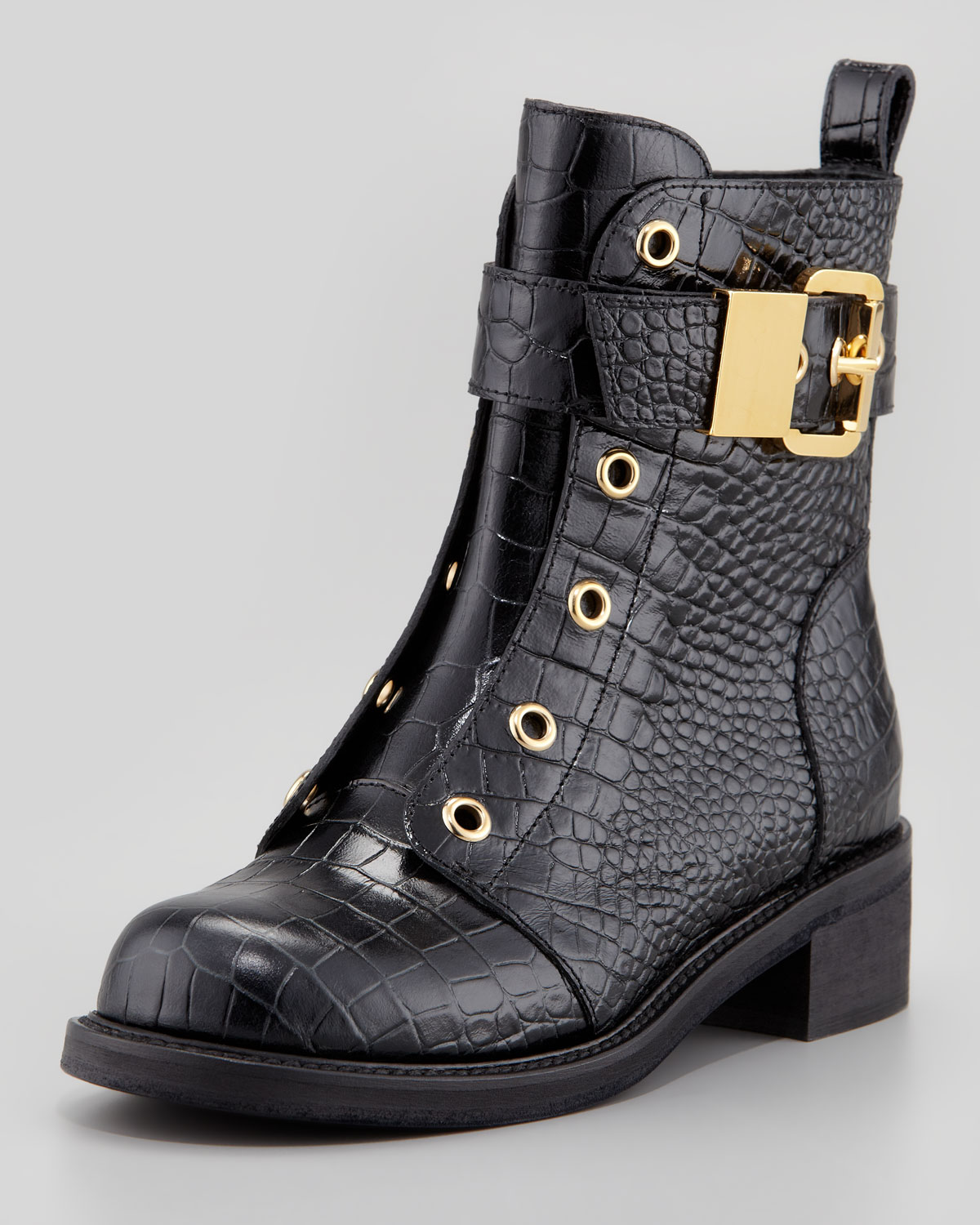 Giuseppe zanotti Embossed Laceless Combat Boot in Black | Lyst