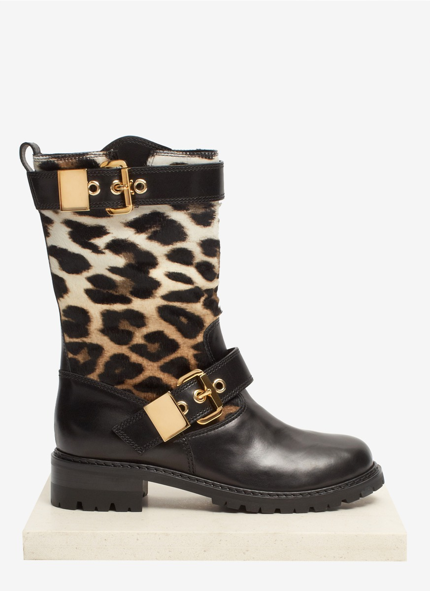 Giuseppe Zanotti Leopard Calfhair And Leather Biker Boots