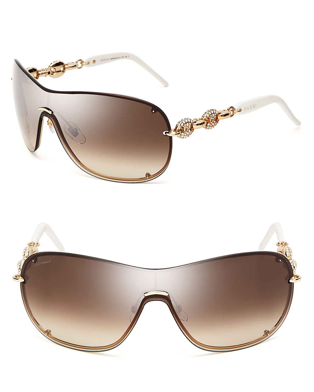 e686e1c2063 Lyst - Gucci Chain Link Shield Sunglasses in Metallic