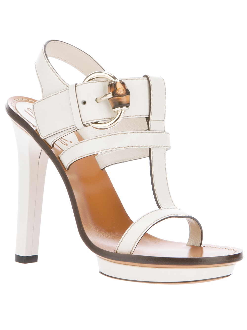 b326f25a5ef75 Lyst - Gucci Strappy Heeled Sandal in White