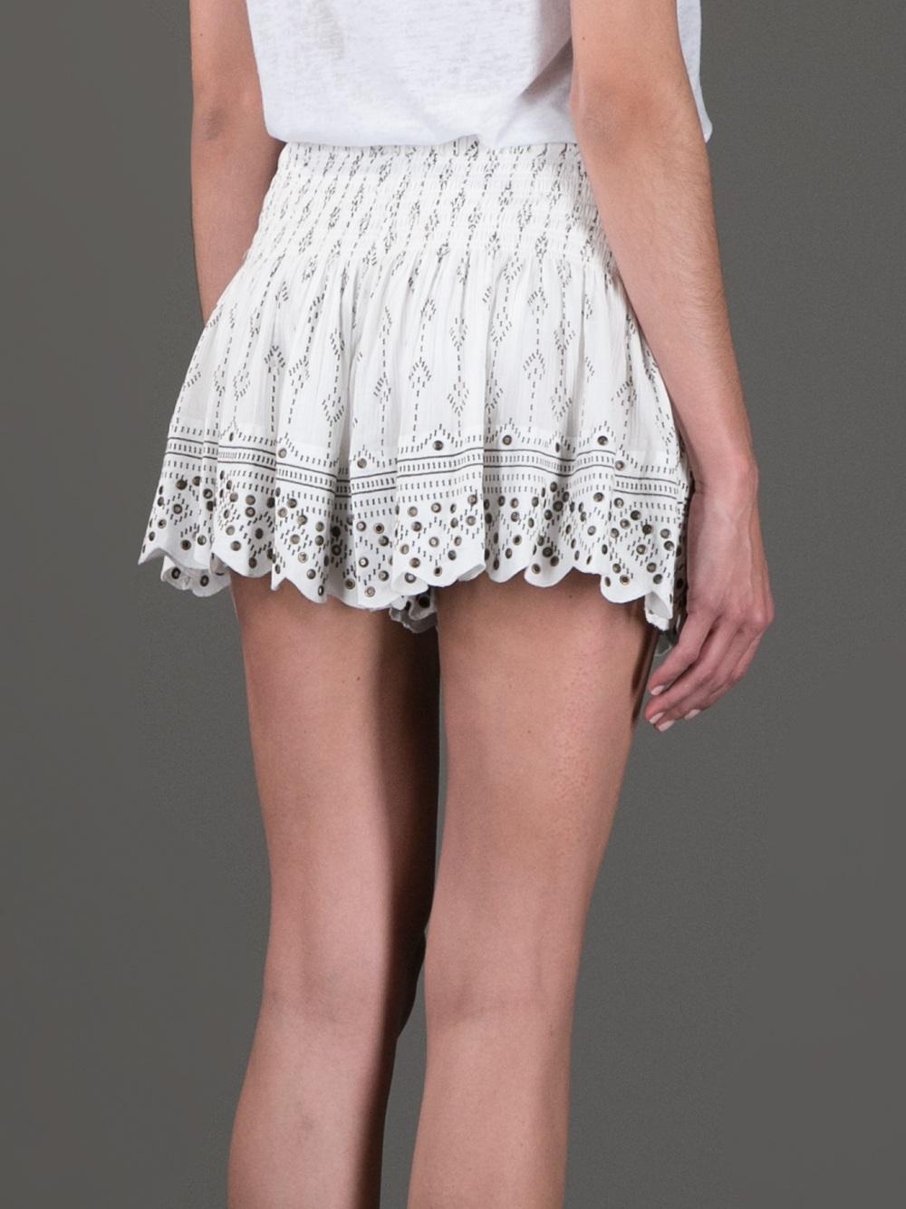 Isabel marant Short Studded Skirt in White | Lyst