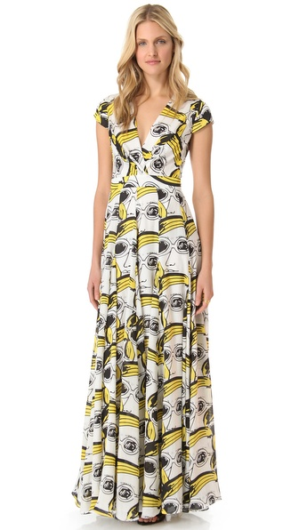 Issa Short Sleeve Maxi Dress in Yellow  Lyst