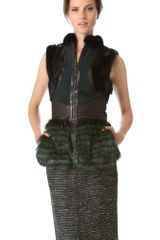 J. Mendel Shearling Vest with Stripe Fur Trim - Lyst