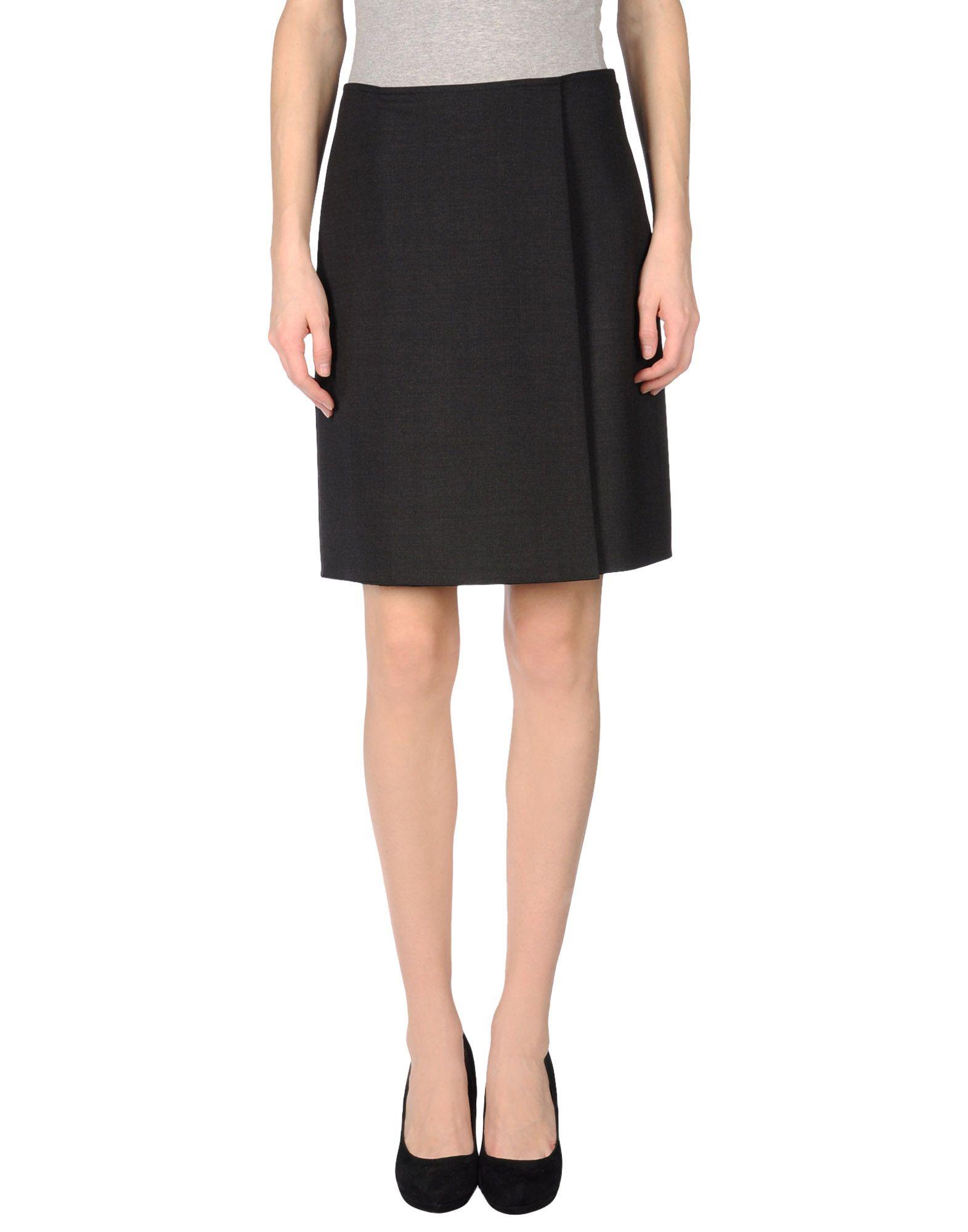 jil sander navy knee length skirt in gray steel grey