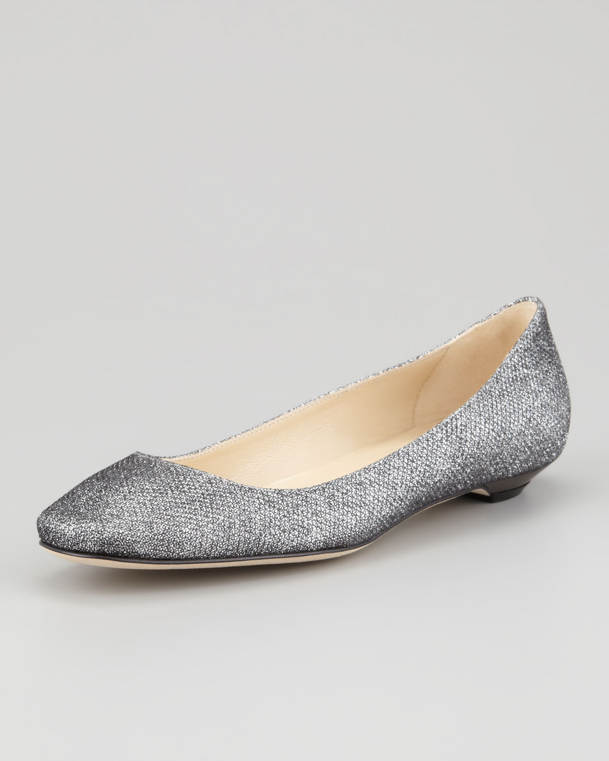 lyst jimmy choo finlay glittered ballerina flat anthracite in gray. Black Bedroom Furniture Sets. Home Design Ideas